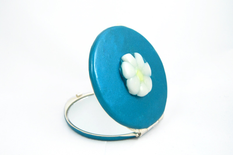 espejo de bolso margarita azul