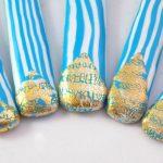 detalle 3 cubiertos de servir rayas turquesa